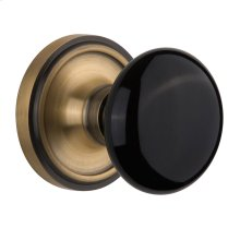 Nostalgic Warehouse - Single Dummy - Classic Rose with Black Porcelain Knob in Antique Brass
