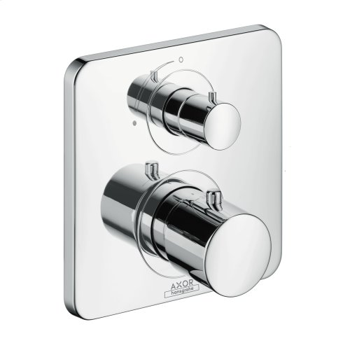 Brushed Gold Optic Thermostat for concealed installation with shut-off valve