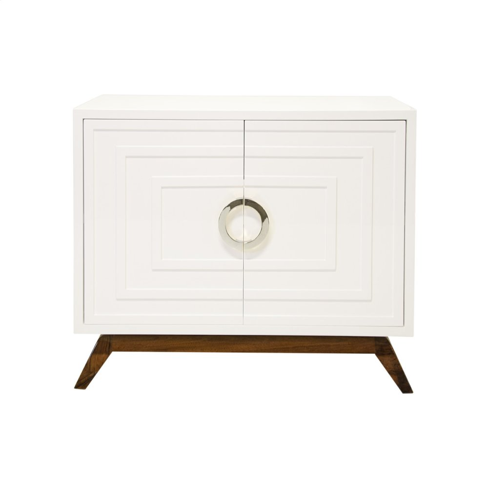 White Lacquer 2 Door Cabinet With Stained Hardwood Base and Nickel Hardware