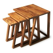 The sloping front legs of these 3-in-1 nesting tables create a mesmerizing geometry - and a Z shape with the tabletops. The unadulterated wet sand finish showcases the intricate graining of the exotic sheesham wood these tables are crafted from.