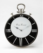 This stainless steel and aluminum wall clock's design is reminiscent of a traditional pocket watch. Only four of the Roman numeral numbers are displayed, but that takes nothing away from this clock's beauty. The white numbers still stand out on the black Product Image
