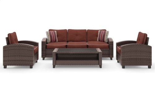 Red Meadow 4 piece Patio Sofa/Chairs/Table Set (4/CN)