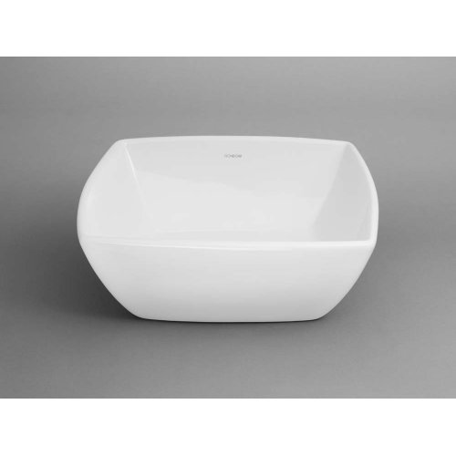 Arched Square Ceramic Vessel Bathroom Sink in White