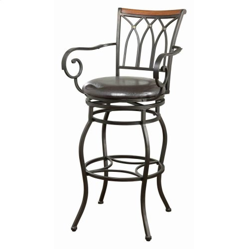 Transitional Black Metal Bar Stool