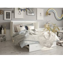 Monroe Murphy Bed Chest Queen White with Charging Station