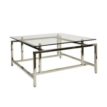 Modern Coffee Table With Glass Top In Nickel