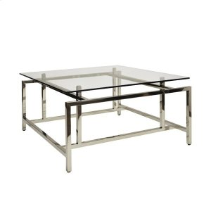 Worlds Away Modern Coffee Table With Glass Top In Nickel