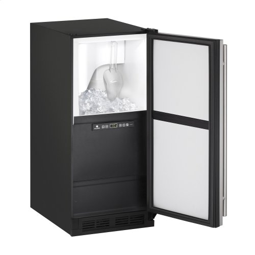 """1000 Series 15"""" Clear Ice Machine With White Solid Finish and Field Reversible Door Swing, Pump Included (115 Volts / 60 Hz)"""