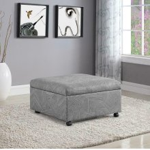 Jacquard Grey Lift-top Storage Ottoman