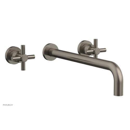"Basic Wall Tub Set 14"" Spout - Tubular Cross Handles D1134-14 - Pewter"