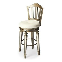 Mirrored stools make a beautiful statement in the home when wanting to achieve an elegant arrangement. Place this stool in your kitchen, dining room or bar area. This stool is adorned with decorative mirrored and pewter finish on the back and tapered legs