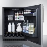 Summit Built-in Undercounter ADA Compliant All-refrigerator With Wrapped Stainless Steel Door, Vertical Handle, Black Cabinet, Door Storage, and Digital Controls