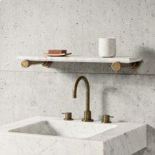 "Elemental Accessory Shelf Aged Brass / Antique Gray Limestone / 24"""