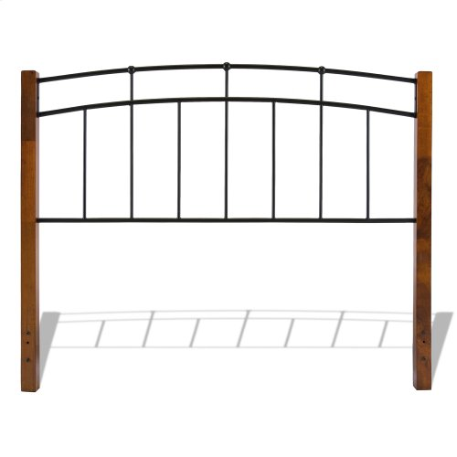 Benson Metal Headboard and Footboard Bed Panels with Maple Wood Posts and Sloping Top Rails, Black Finish, California King