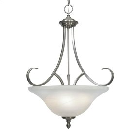 Lancaster 3 Light Pendant in Pewter with Marbled Glass