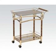Gold Serving Cart W/clr Glas Product Image