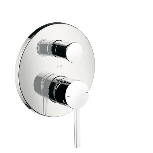 Brushed Nickel Single lever bath mixer for concealed installation with lever handle and integrated security combination according to EN1717