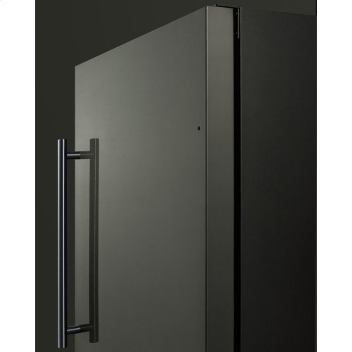 """18"""" Wide Built-in Undercounter All-refrigerator With A Black Stainless Steel Door, Black Cabinet, Digital Thermostat and Front Lock"""