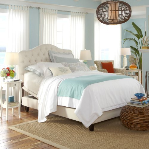 Martinique Upholstered Adjustable Headboard Panel with Solid Wood Frame and Button-Tufted Design, Ivory Finish, Twin