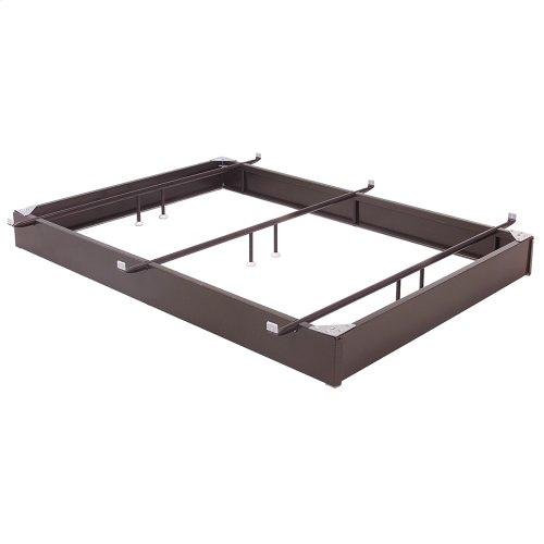 """Pedestal 1050 Bed Base with 10"""" Brown Steel Frame and Center Cross Tube Support, Queen"""