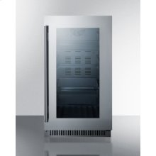 "18"" Wide Built-in Beverage Center With Seamless Stainless Steel Trimmed Glass Door"