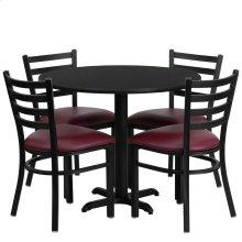 36'' Round Black Laminate Table Set with 4 Ladder Back Metal Chairs - Burgundy Vinyl Seat