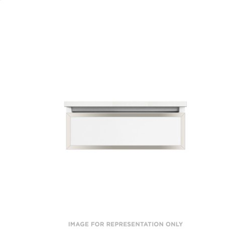 """Profiles 24-1/8"""" X 7-1/2"""" X 18-3/4"""" Framed Slim Drawer Vanity In Matte White With Polished Nickel Finish and Slow-close Full Drawer"""
