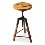 This delightful industrial-look barstool revolves and adjusts to the desired height, making it an ideal seat for all sizes and tables. With a recycled wood seat, its three-legged post design ensures stability and iron triangle base serves as a convenient Product Image