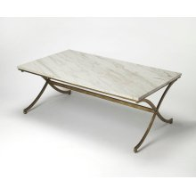 Anchor the living with this chic contemporary Antque Gold toned finish and Travertine coffee table, perfect for displaying a glowing array of candles or resting bevarages and treats for movie night in