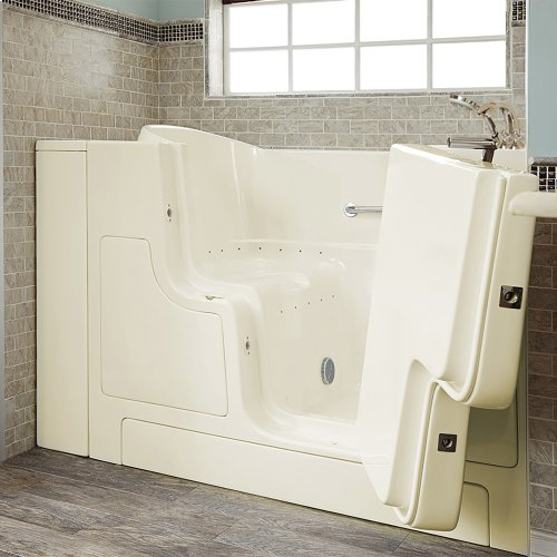 Gelcoat Premium Series 30x52 Inch Walk-in Tub with Air Spa System and Outward Opening Door, Right Drain  American Standard - Linen