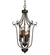 Multi-Family 3 Tier - 6 Light Caged Foyer in Rubbed Bronze with Drip Candlesticks