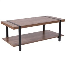 Rustic Wood Grain Finish Coffee Table with Black Metal Legs