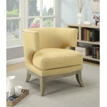 Transitional Bumblebee Yellow Exposed Wood Accent Chair