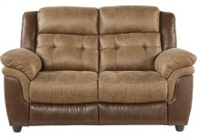 Sheffield Two-Tone Brown Leather Gel Dual Reclining Loveseat