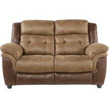 Sheffield Two-Tone Brown Leather Gel Dual Reclining Loveseat
