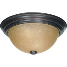 2-Light Medium Dome Flush Ceiling Light Fixture in Mahogany Bronze Finish with Champagne Linen Glass