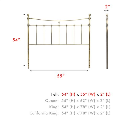 Leighton Metal Headboard Panel with Straight-Lined Spindles and Scalloped Castings, Glazed Brass Finish, Full