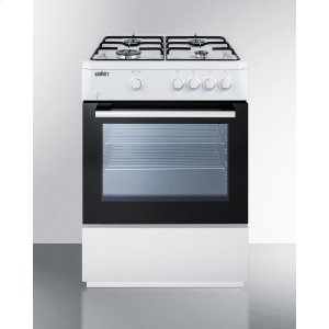 "Summit24"" Wide 'slide-in' Look Gas Range With Sealed Burners, Waist-high Broiler, Storage Compartment, Large Black Glass Oven Window, and White Cabinet"