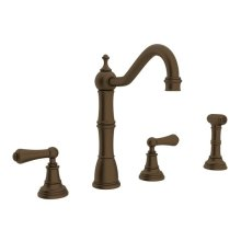 English Bronze Perrin & Rowe Edwardian 4-Hole Kitchen Faucet With Sidespray with Metal Lever