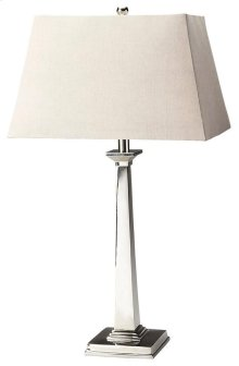 This modern table lamp will brilliantly light any space. Featuring a nickel finish, it is hand crafted from aluminum with an iron harp and linen shade.