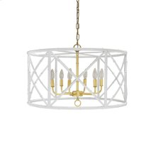 Six Light Bamboo Chandelier In White Powder Coat With Gold Cluster - Ul Approved for (6) 40w Candelabra Bulbs