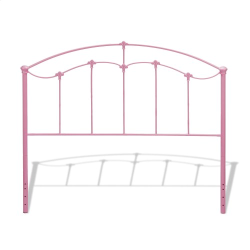Amberley Fashion Kids Metal Headboard and Footboard Bed Panels with Elegant Curves and Floral Medallion Accents, Cotton Candy Pink Finish, Full