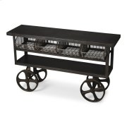 This industrial chic trolley buffet is an eye-catching addition. Made from cast iron, it features four mesh trays and two shelves Its scale and storage space makes it great for use in many ways - including in the kitchen, living or multi-purpose room, or Product Image