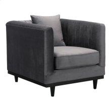 Garland Arm Chair Gray Velvet