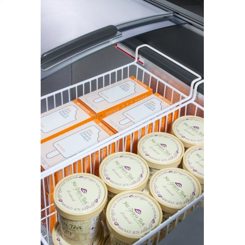 Curved Top Commercial Ice Cream Freezer With Sliding Glass Lid, Digital Thermostat, Novelty Baskets, and 9.5 CU.FT. Interior