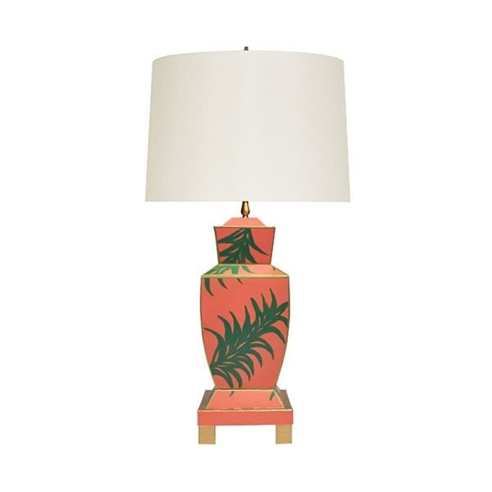 Hand Painted Urn Shape Tole Table Lamp In Palm