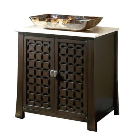 30 in. W Single Basin Vanity with Cream Marble Top in Espresso