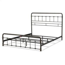 Lakebrook Metal SNAP Bed with Folding Frame Bedding Support System and Rounded Edge Panels, Blackened Brass Finish, King