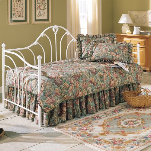 Emma Metal Daybed Frame with Curved Spindles and Camelback Arch Back Panel, Antique White Finish, Twin