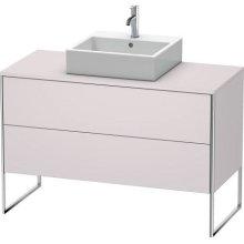 Vanity Unit For Console Floorstanding, White Lilac Satin Matt Lacquer